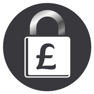 British Pound Sterling symbol within lock, conveying that Boiler Bunny Heating provide fixed price boiler repair.