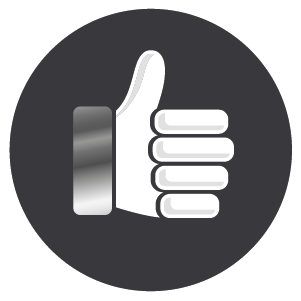 White thumbs up hand, confirming a 12 months warranty on parts and labour.